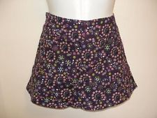 NEW Stradivarius Ladies Brown Floral Mini Skirt Stretch Cotton EU Size 38 Small