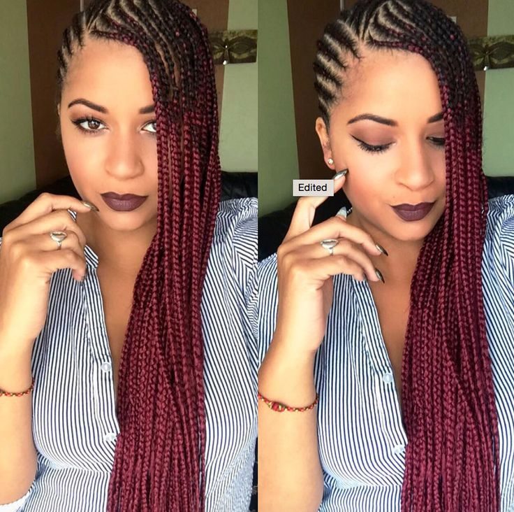 Dope red ombre braids @eugenze  Read the article here - http://www.blackhairinformation.com/hairstyle-gallery/dope-red-ombre-braids-eugenze/