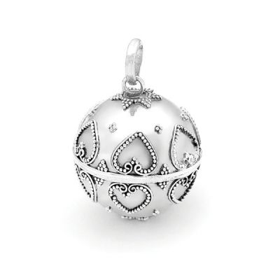 Harmony Ball - Sterling silver chime ball with a delicate heart pattern. Bella Donna Silver's Harmony Balls are traditionally handmade in Bali and contain tiny brass xylophones that create soothing, magical sounds when shaken.
