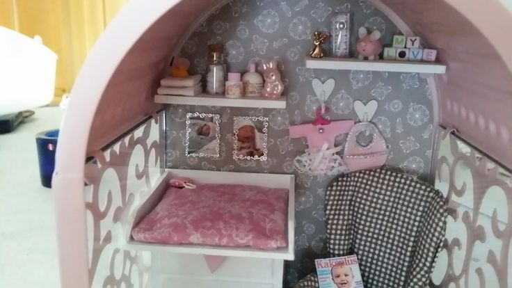Miniature roombox in a lantern. For a baby girl.