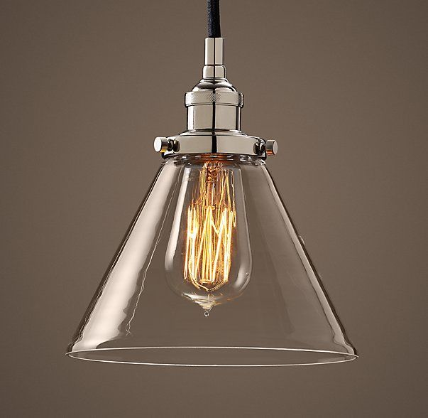 Factory filament clear glass funnel pendantevoking industrial lighting our reproductions of vintage fixtures retain the classic lines and exposed hardware