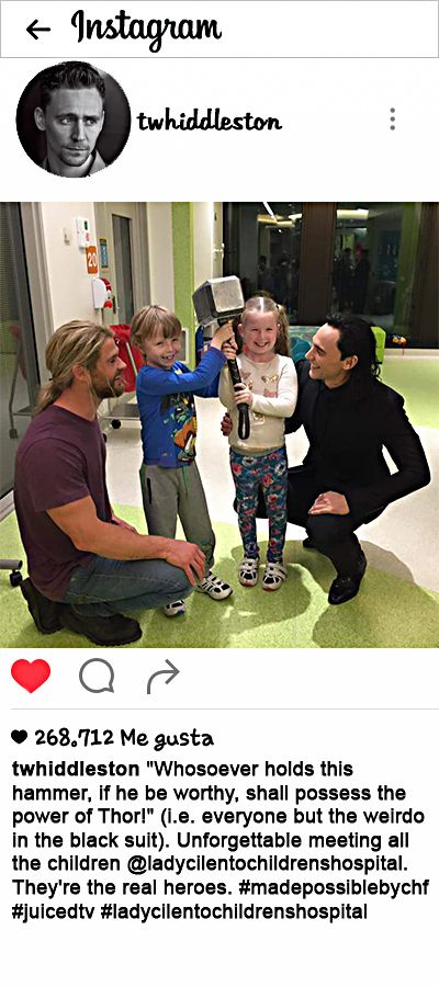 "twhiddleston: '""Whosoever holds this hammer, if he be worthy, shall possess the power of Thor!"" (i.e. everyone but the weirdo in the black suit). Unforgettable meeting all the children'  https://www.instagram.com/p/BJeRT2JAKbO/"