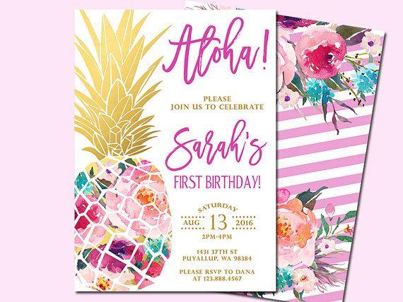 Pineapple Birthday Invitation Tropical Aloha by SunnyDaysCreation