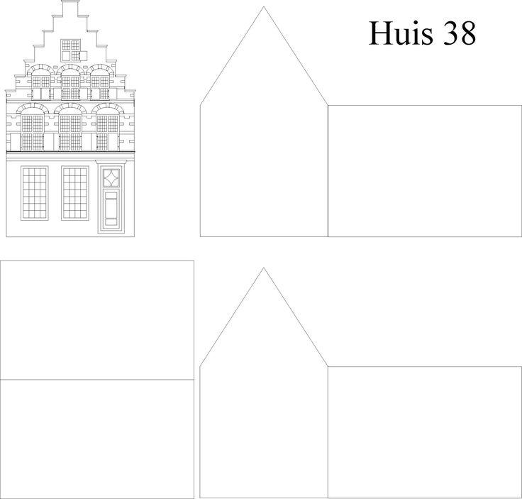 DIY a Paper Construction Amsterdam Canal House from real  'Huis nr. 38'. More models available fit to A4 Paper to Print.•°•° Bouwplaat Amsterdams Grachtenhuis van Huis nr. 38. Meer Modellen beschikbaar en allen passend op A4 Papier om te Printen!