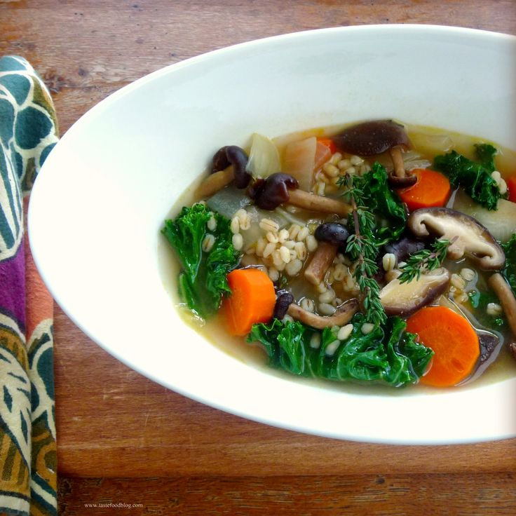Mushroom Barley Soup with Miso and Kale | FOOD - SOUP & STEWS | Pinte ...