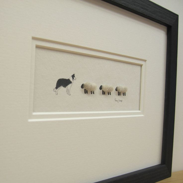 #Handmade picture by Penny Lindop Designs - Border Collie with 3 Woolly sheep - £22.00 unframed (£42 framed)  (http://www.pennylindop.com/picture-collie-and-3-sheep/)