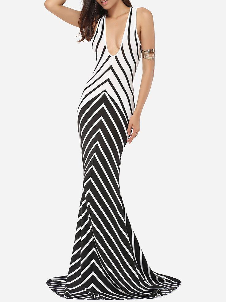 #AdoreWe #FashionMia Evening Dresses - FashionMia Mermaid V Neck Dacron Assorted Colors Printed Stripes Evening Dress - AdoreWe.com