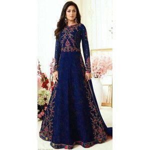 Dashing Blue Georgette Anarkali Suit.