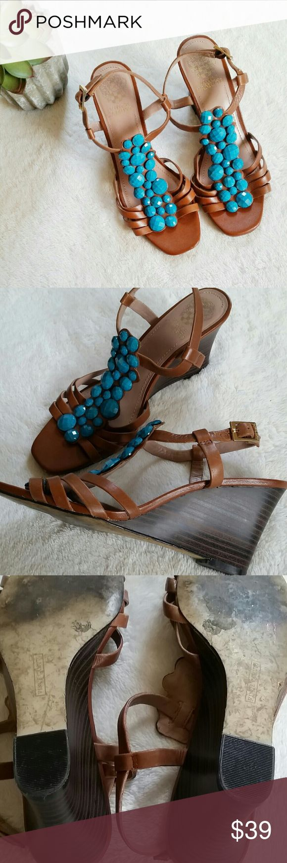 Host Pick! Vince Camuto Turquoise Wedges Vince Camuto Turquoise Wedges. Size 7.5W. 3 inch heels. Tiny scratches on few spots and normal signs of few uses but other than that, in great pre-loved condition. Vince Camuto Shoes Sandals