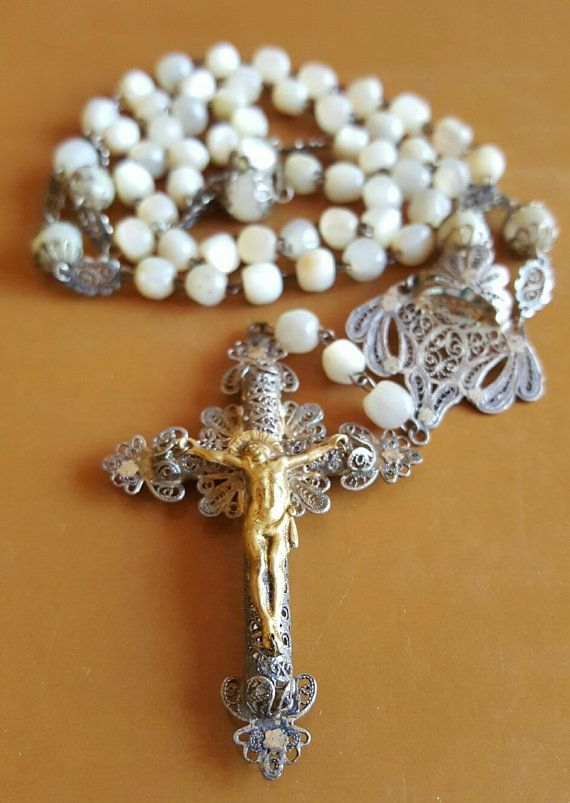 Antique Spanish Mother of Pearl and Filigree Rosary / Colonial / Art Nouveau / late 1800s / Victorian