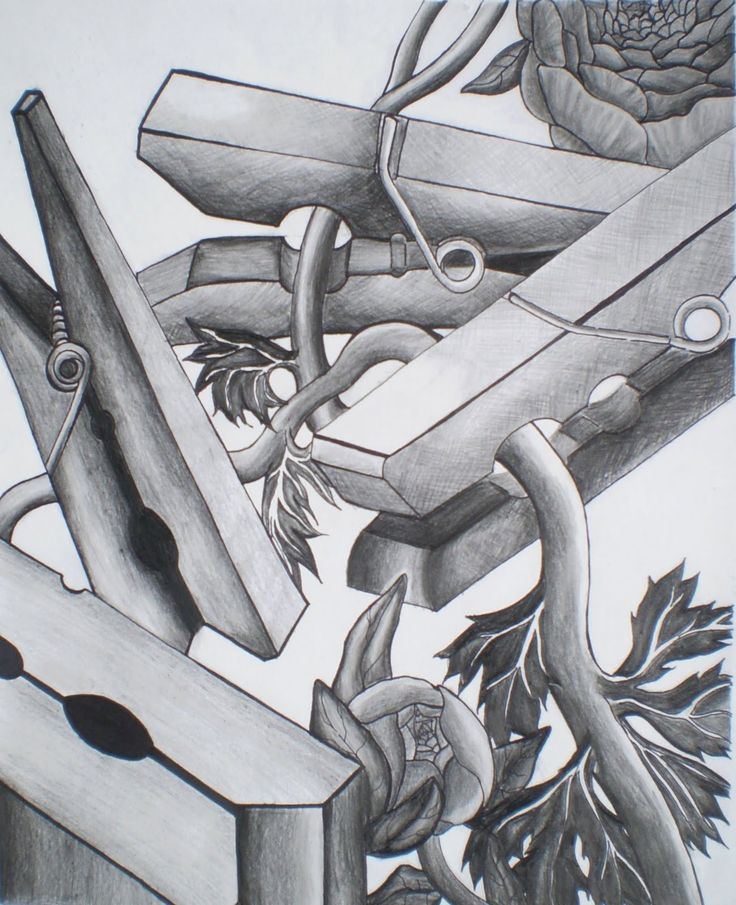 'connections' theme as represented by clothespin still life value drawing- grade 12