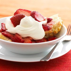 Strawberry Shortcakes Sweetened strawberries top buttery shortcakes. Mix it up by tossing together a fresh topping of blueberries, raspberries, and blackberries.