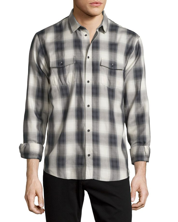 Albion Check-Plaid Long-Sleeve Sport Shirt, Gray/White, Men's, Size: XL, Grey/White - IRO