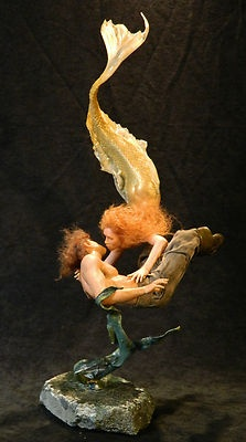 *MERMAID ~ RESCUE- Polymer Clay Sculpts ooak by Mark A. Dennis