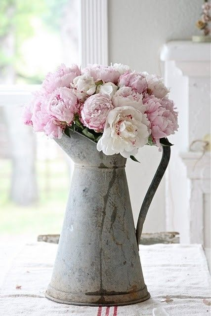 minervacompany.uk - want to escape to the West Country? Let us find your perfect seaside or country home for you! Want some ideas for your seaside cottage in Devon or Cornwall? Follow our Houses, gardens and interiors board on Pinterest! Peonies in antique pitcher.