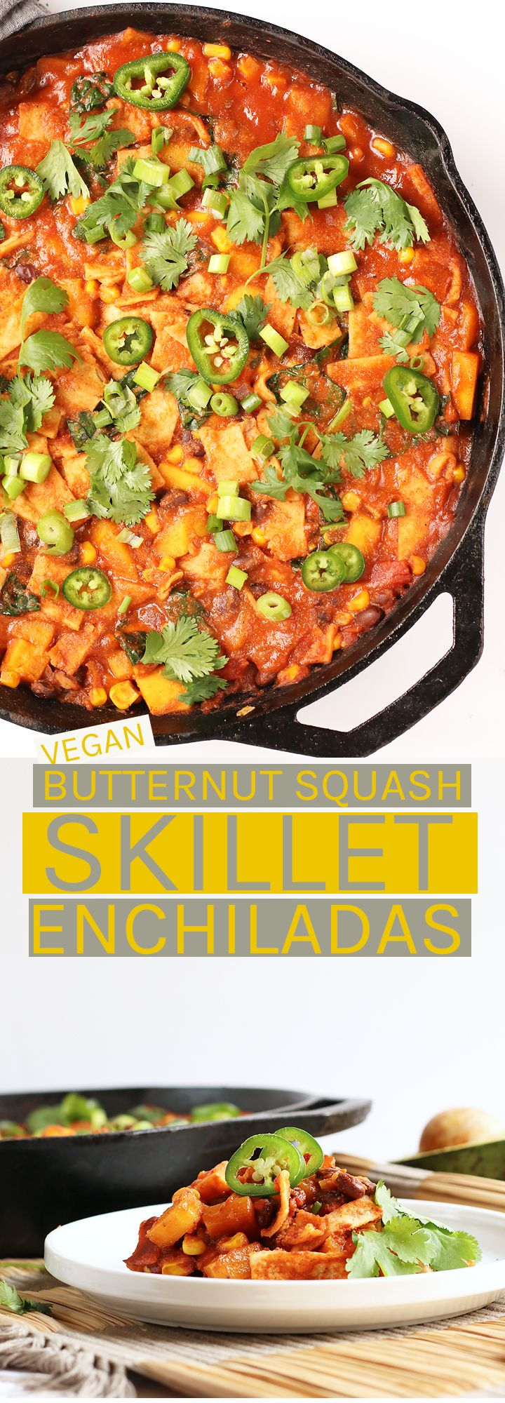Make dinner easy with these vegan and gluten-free Butternut Squash Skillet Enchiladas. 1 pot, under 30 minutes!