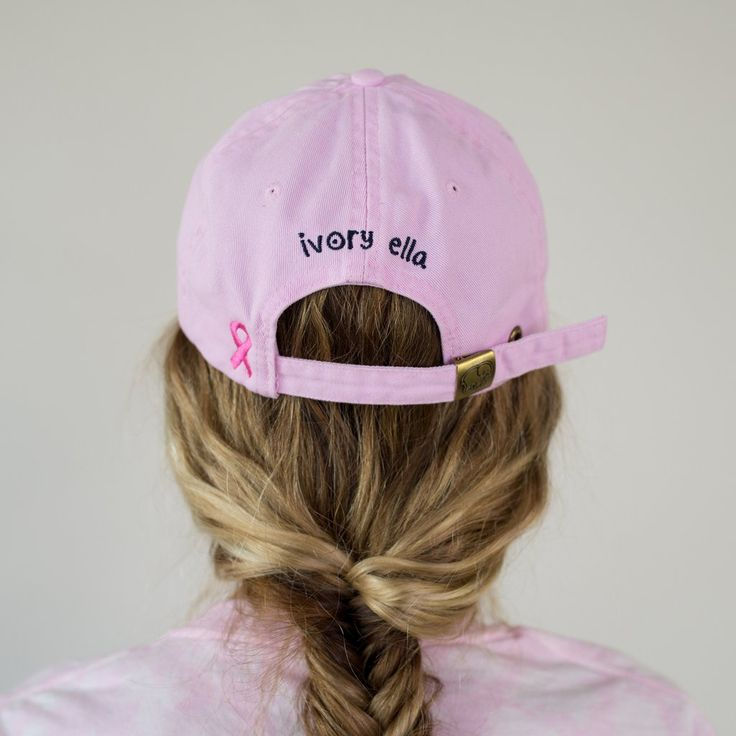 Pink Ribbon Baseball Cap – Ivory Ella