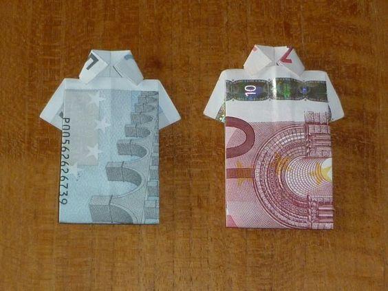 Een shirt vouwen van papiergeld. Misschien leuk voor een mannen verjaardag. Wanneer je het met een koordje vastzet op een kaart en dan de s...