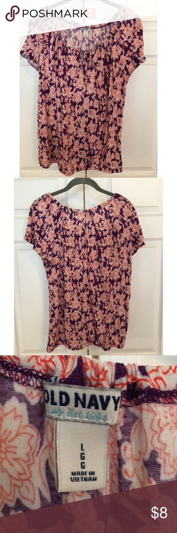 Print short sleeved top Old Navy Large Plum printed, capped sleeve, elastic bottom, draw string collar, Old Navy Large, Short sleeved tassel tie Rayon Old Navy Tops Blouses