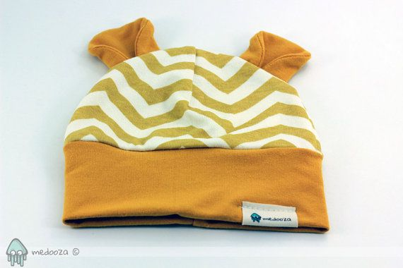 Chevron organic cotton baby beanie with ear flaps by medooza