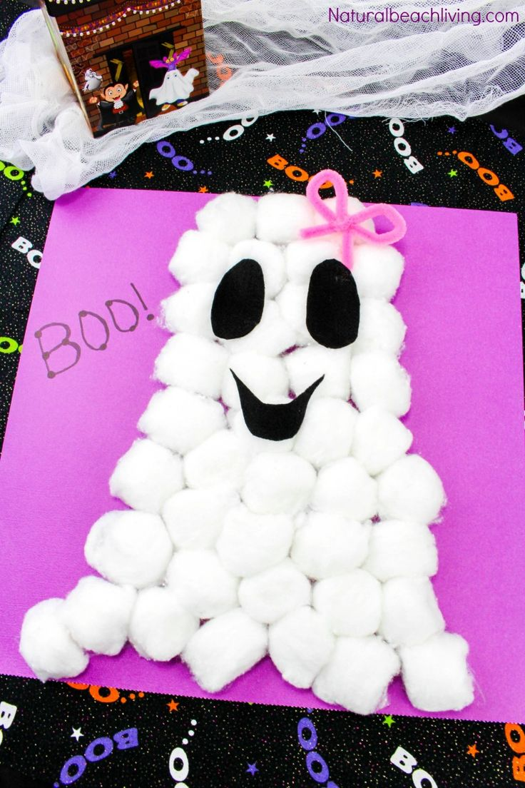 Easy Cotton Ball Ghost Craft for Preschoolers, Fun Ghost Craft, Easy and cheap to make, Toddler Halloween craft, Halloween Crafts for Kids to make, FUN!