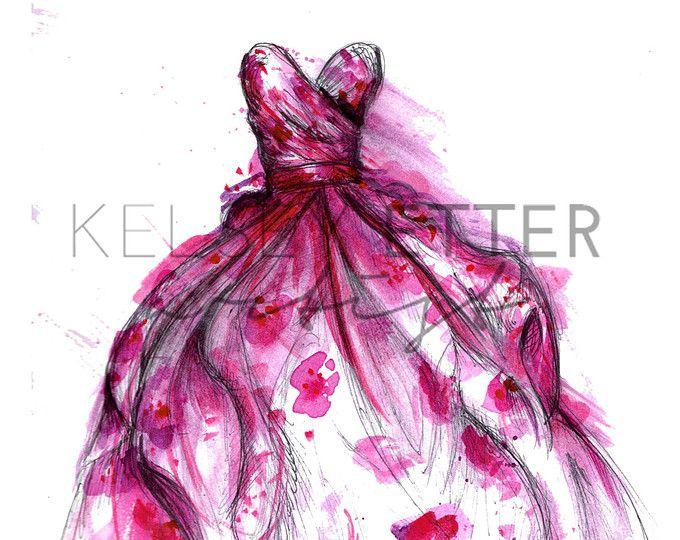Téléchargement instantané mode Illustration-fleur robe