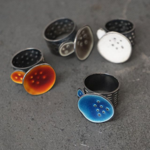 Wide Ring – Sealife Series Jewellery blue, white, grey & rust made from oxidised silver, embellished with textural marks and irregular circle design with satin finish.