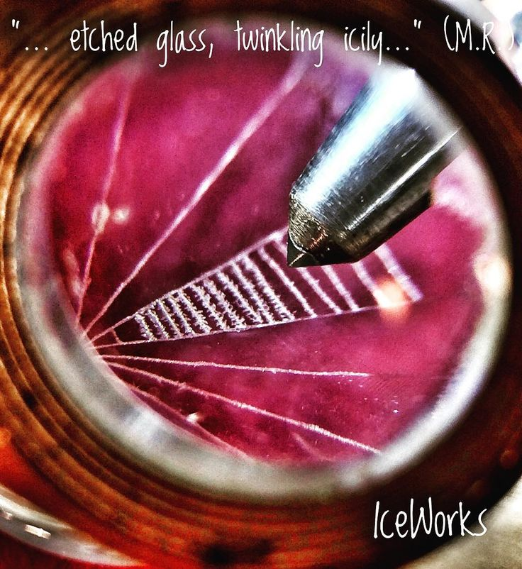 Etching glass with a diamond pencil under magnification: creating a spider web pattern on glass for IceWorks jewelry. Unique, hand-engraved glass jewelry, Quote: from Hungarian poetry