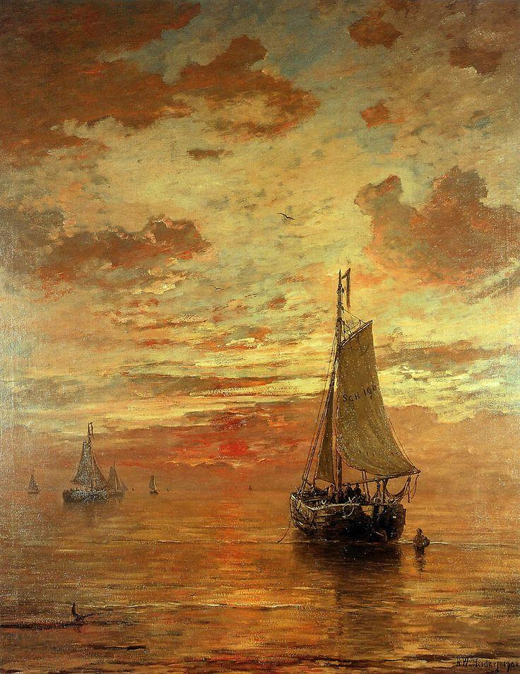 Hendrik Willem Mesdag (1831 – 1915) dutch painter - Summer Evening At Beach Scheveningen