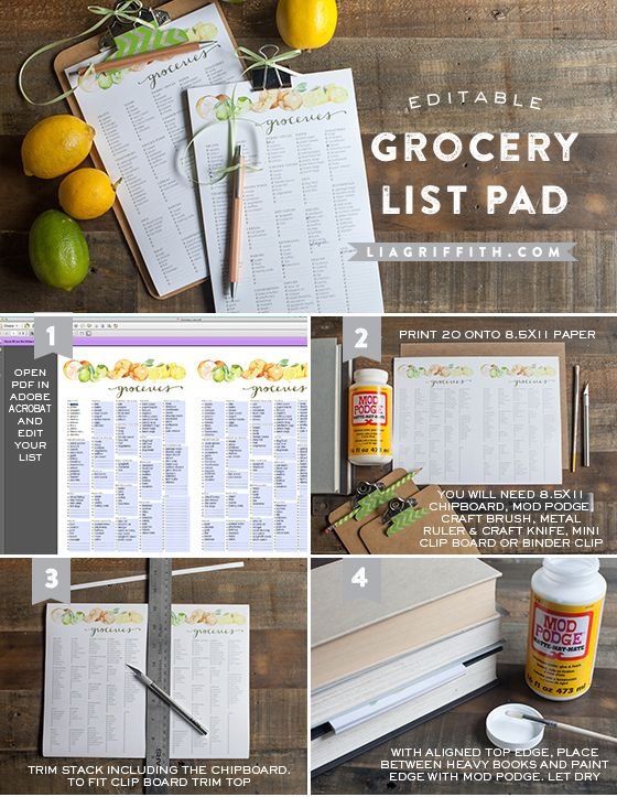 Printable grocery list - editable