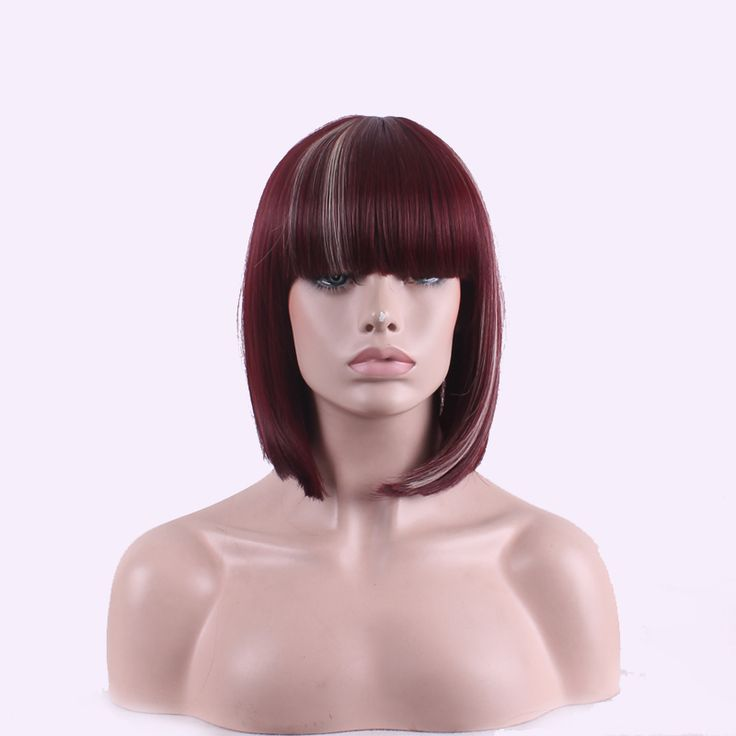 Women Short Straight Heat Resistant Synthetic Hair Swept Bangs Bob Wig For Daily Use Cosplay (Wine Red/Brown)Peruca Peluca