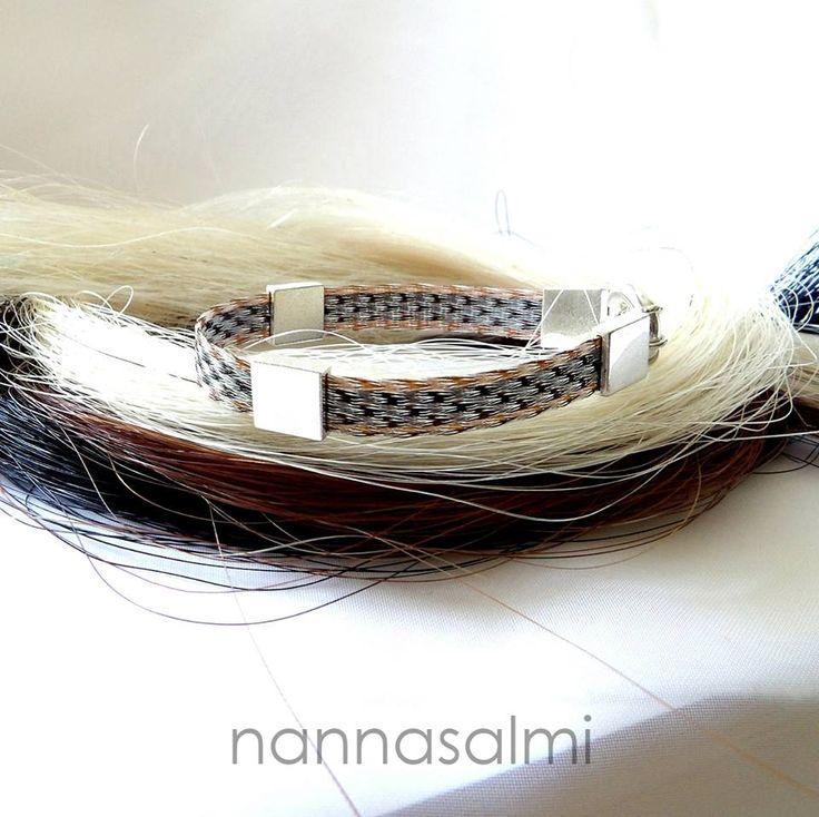 Bracelet Naomi, woven ribbon made with your own horse´s hair www.nannasalmi.com www.nannasalmi.fi