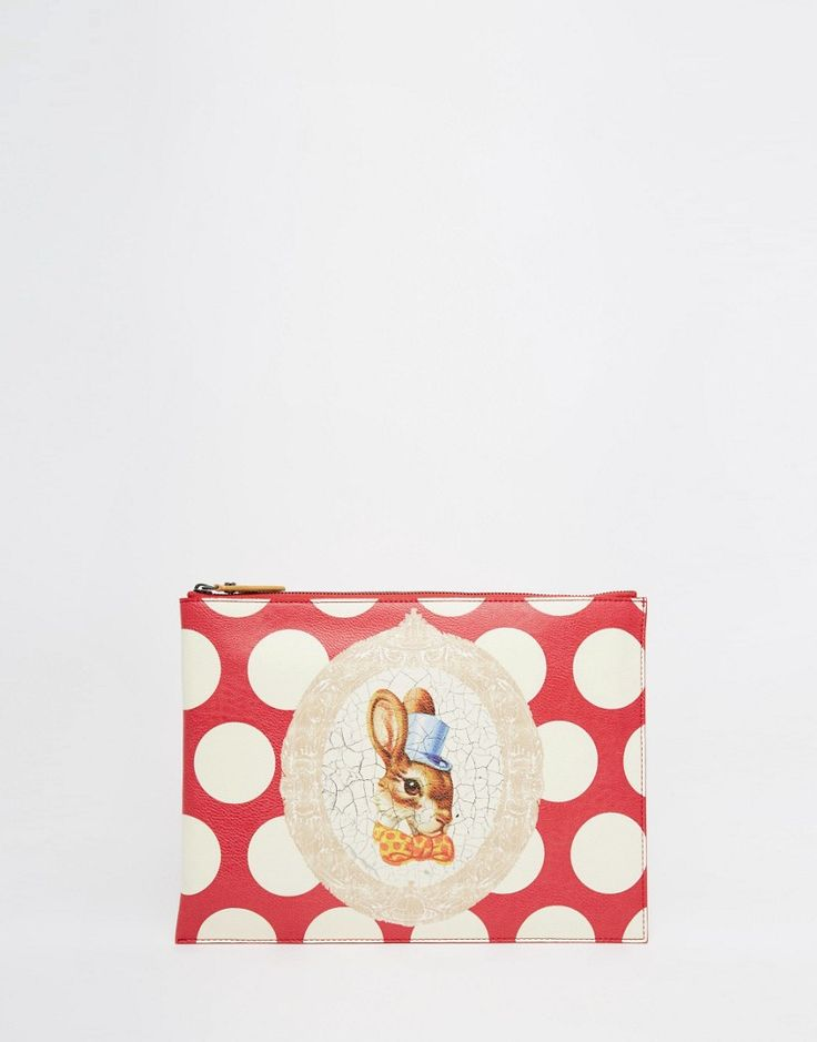 Vivienne Westwood Clutch Bag with Bunny Rabbit in Red