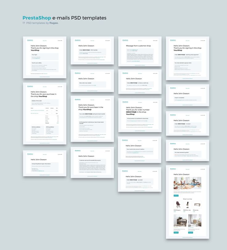 Prestashop e-mail PSD templates  by flugee. on @creativemarket