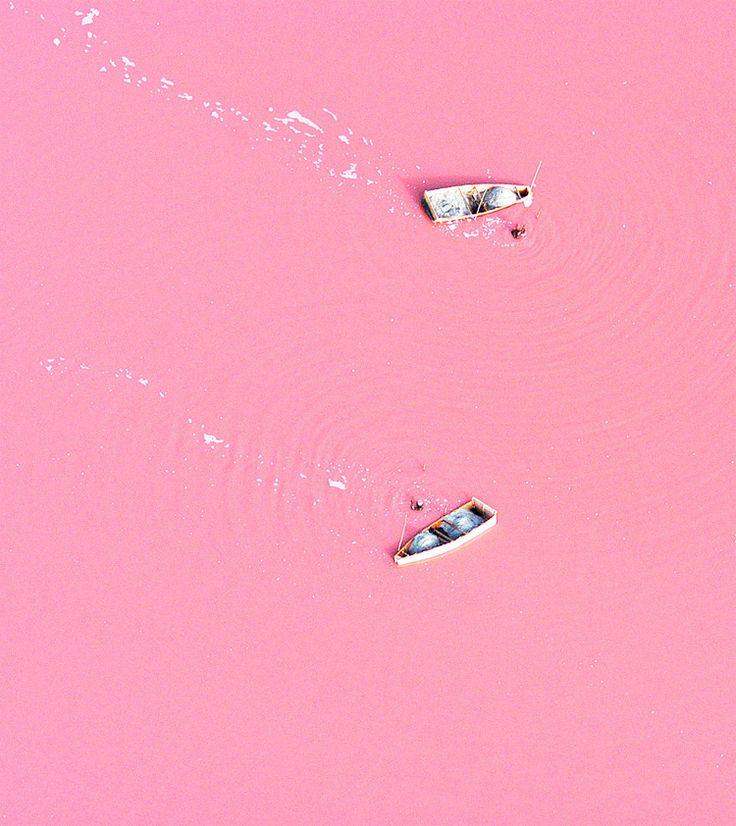 Visit the pink lake of Lake Retba, Senegal (salt collecting boats): Pink Lakes, Buckets Lists, Lakes Retba, Lakeretba, Pink Colors, Dead Sea, Lake Retba, Pink Water, Lac Rose
