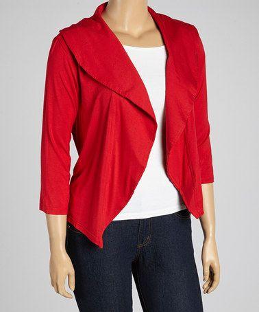 Look what I found on #zulily! Red Shawl Collar Open Cardigan - Plus #zulilyfinds