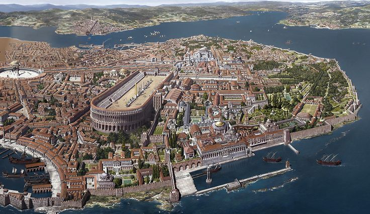 Constantinople, as it appeared in the 13th century, here accurately depicted by Antoine Helbert.