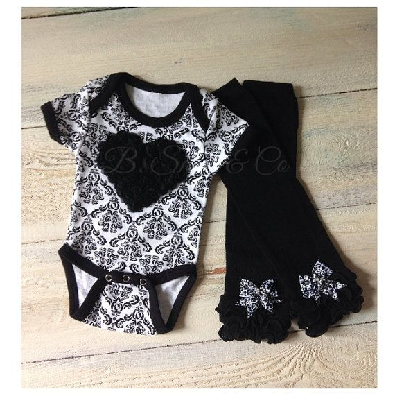 FLASH SALE! shabby chic damask baby girl outfit, baby girl outfit for pictures, baby girl clothes,damask onesie and matching leg warmers on Etsy, $33.39