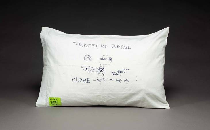 Tracey Emin Sleep 1996 Monoprint and stitched label on cotton pillowcase 50 x 73 cm
