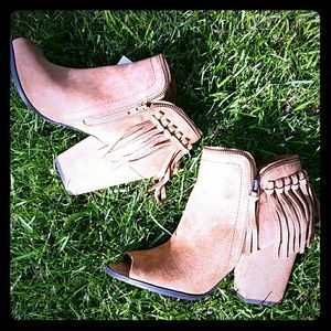 DV by Dolce Vita Shoes - ***NWT****Camel color open toe booties with fringe