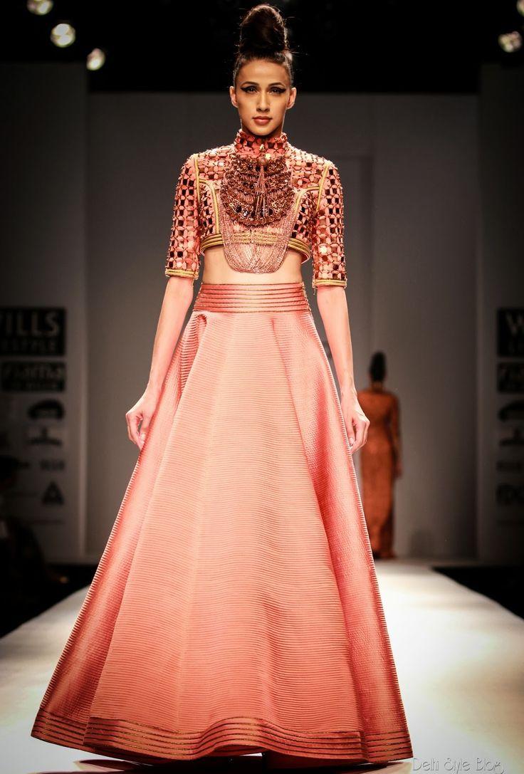 indian south asian desi fashion lengha. gold. WIFW SS 2014: Anaikka by Kanika Saluja