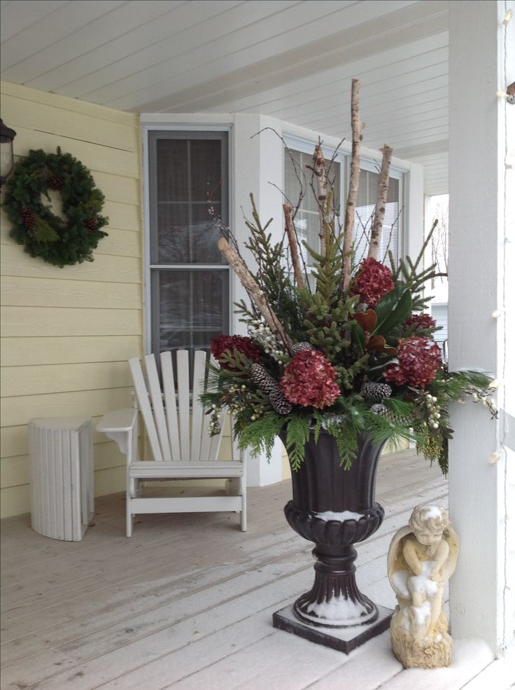 Christmas Entry urns, on Front porch using birch branches ...