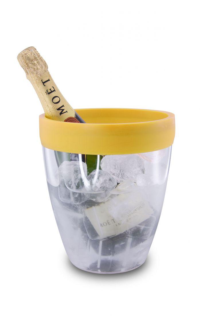 Wiaderko do lodu z obręczą silikonową (żółte) - PULLTEX - DECO Salon #wine #wineaccessories #winelovers #giftidea #icebucket