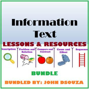 A bundle of 5 information text types: 1. CAUSE AND EFFECT 2. COMPARE AND CONTRAST 3. DESCRIPTION 4. PROBLEM AND SOLUTION 5. SEQUENCE  MORE PRODUCTS BY THE AUTHOR: * PREPOSITIONS * PHRASES * CLAUSES * ADJECTIVES * CONNECTIVES * LETTER WRITING * PROSE COMPREHENSION * HEALTH TIPS * SPECIAL NEEDS APPS * DIGITAL TEACHER * POEM COMPREHENSION * ANALYZING GUIDES * WRITING RESOURCES * LISTENING & SPEAKING SKILLS * PUNCTUATION * TENSES * SENTENCES * HOMOPHONES-HOMOGRAPHS-HOMONYMS * DIRECT INDIRECT...