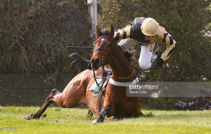 Frankie Figg ridden by Jamie Moore falls at Becher's Brook during The John Smiths Topham Steeple Chase on day two of the John Smith's Grand National meeting at Aintree on April 3, 2009 in Liverpool, England.