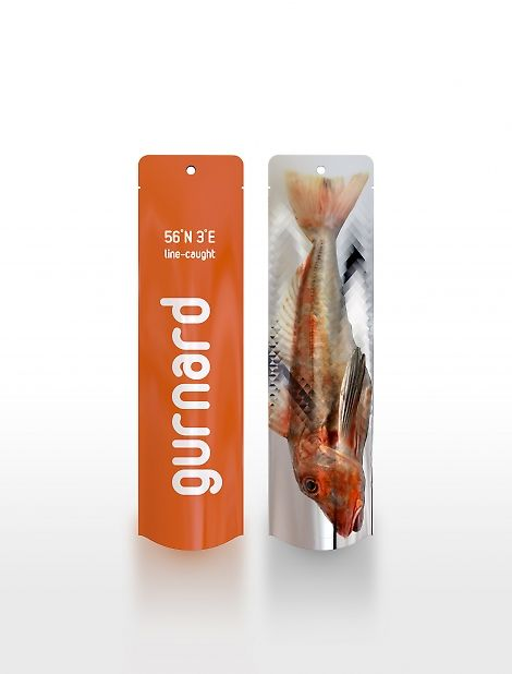 This fish packaging proposal helps put these fish back on equal standing with their more recognized brethren by placing them in an attractive and highly recognizable packaging solution. The packages are intended for use at fresh fish counters. Constructed from a double layered polyethylene, they are airtight, resealable and can be filled with ice for transport to keep your fish fresh until it hits the pan!""