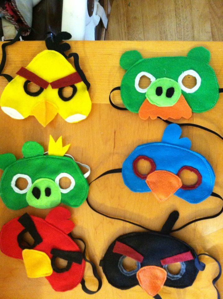 Angry Birds Party Theme Ideas. Made a Bomb Bird mask out of construction paper because I did not have felt.