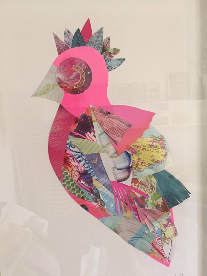 'Think Pink' 2014 Original mixed media collage on archival paper 56 x 74cm Madeleine Grummet