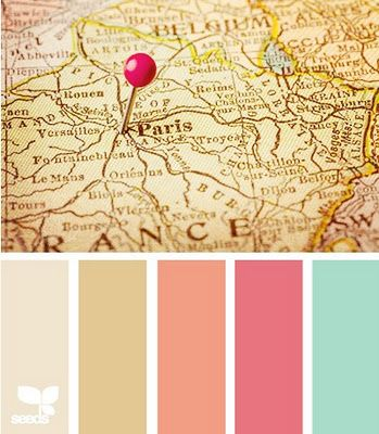 Color palette inspired by antique maps & globes for a travel-inspired wedding. My fiancé is a city planner and would love the map theme inspiration!