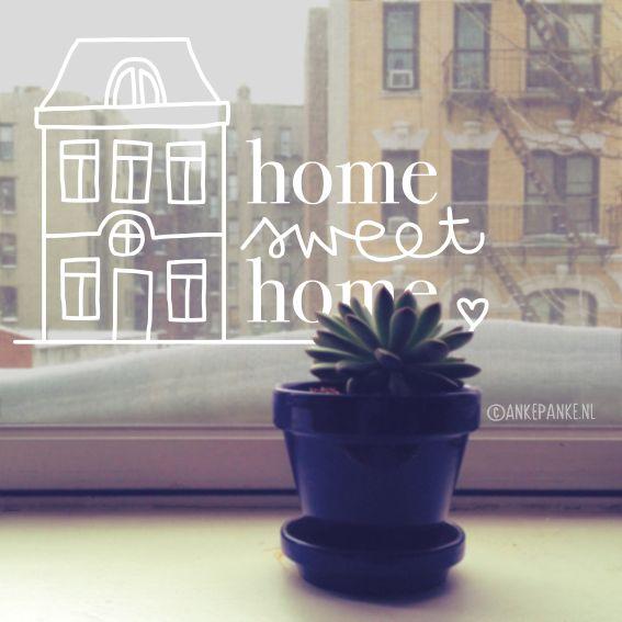 Huis illustratie met 'Home sweet home' quote raamtekening om op je raam te tekenen in niet je huis, maar je Thuis.